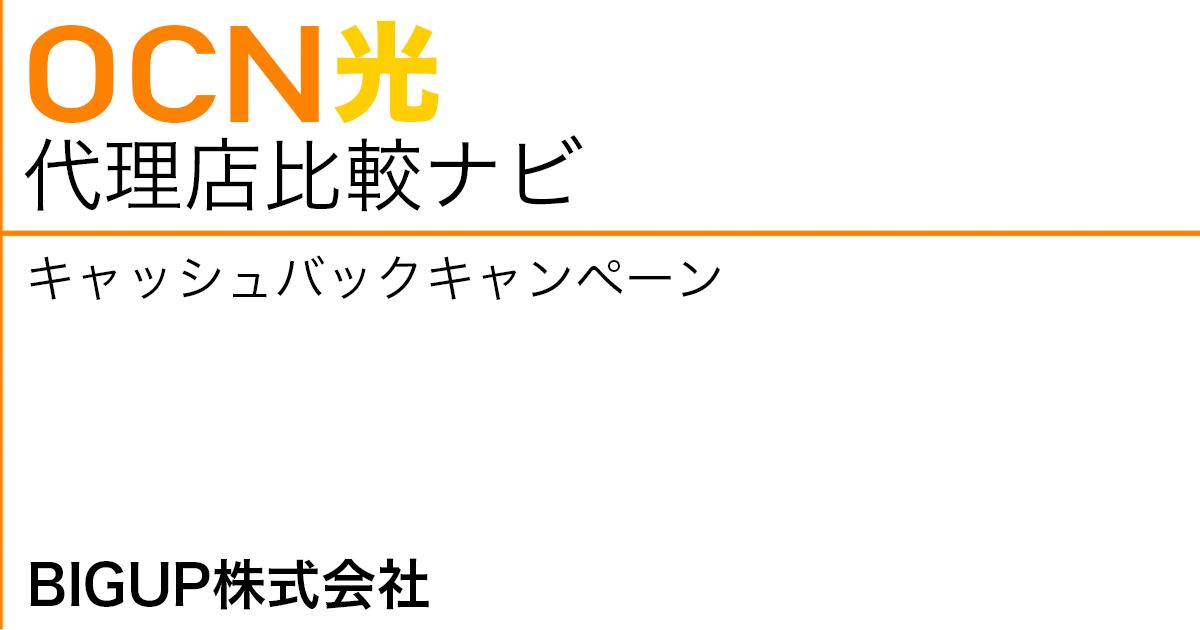 OCN光 代理店「BIGUP株式会社」